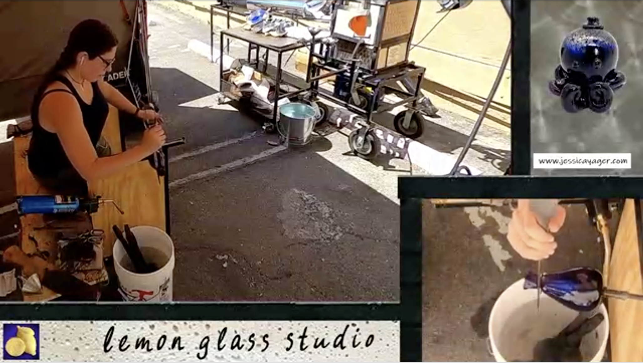 Sample image of a twitch stream, there are two camera angles showing a woman making a hand blown cobalt blue glass. One camera focuses on her hands, while she uses the jacks to create a constriction where she will make a clean break to define the lip of the cup. Also in frame is a small purple glass octopus in a top hat, and Lemon Glass Studio Logo